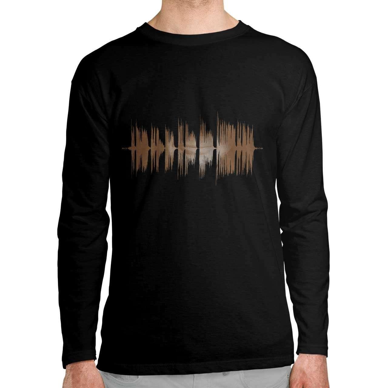 تی شرت آستین بلند طرح امواج صدای...