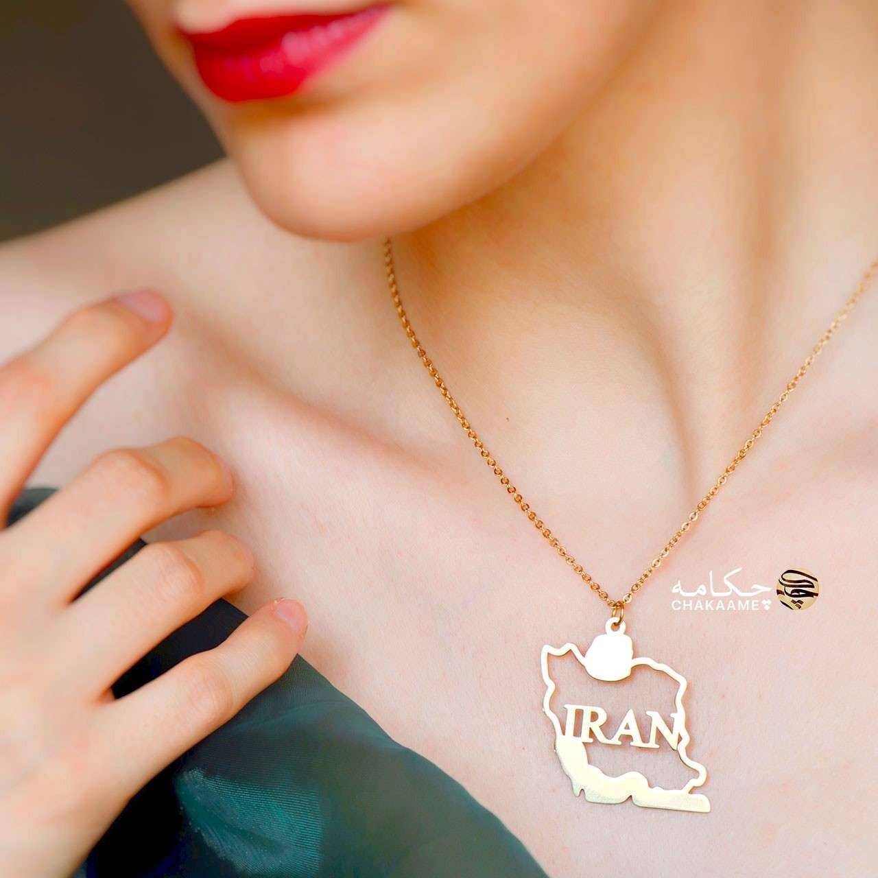 گردنبند طلا و نقره طرح ایران IRAN