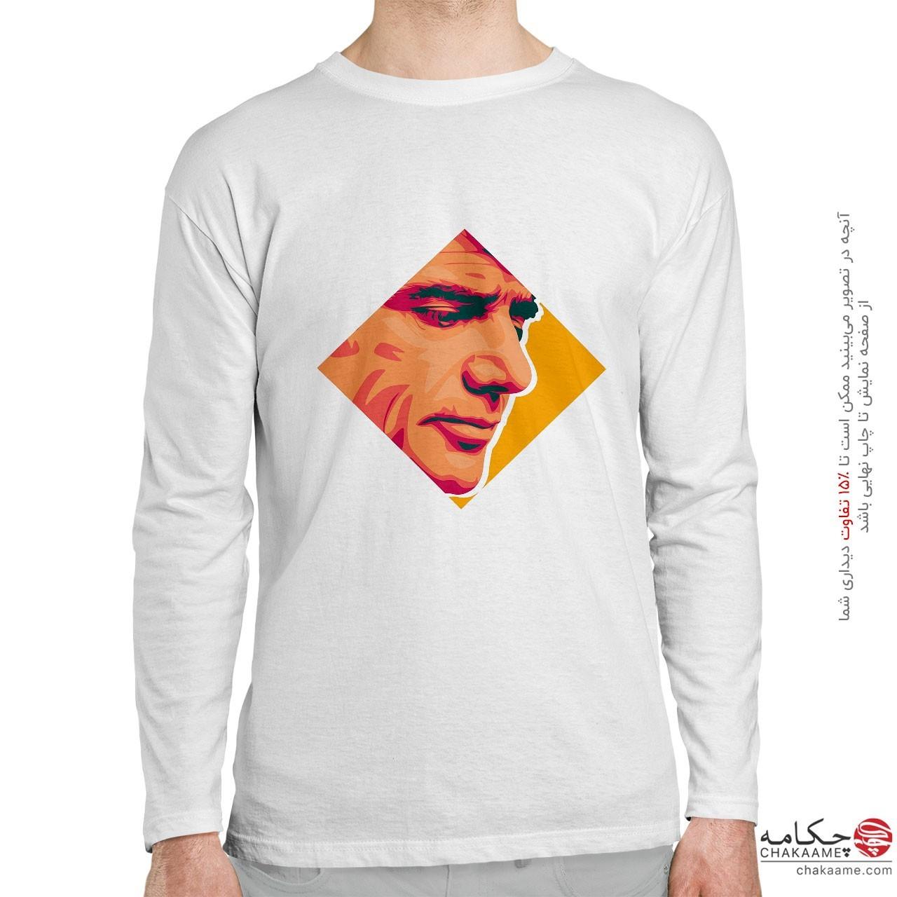 تی شرت آستین بلند طرح گرافیکی چهره...