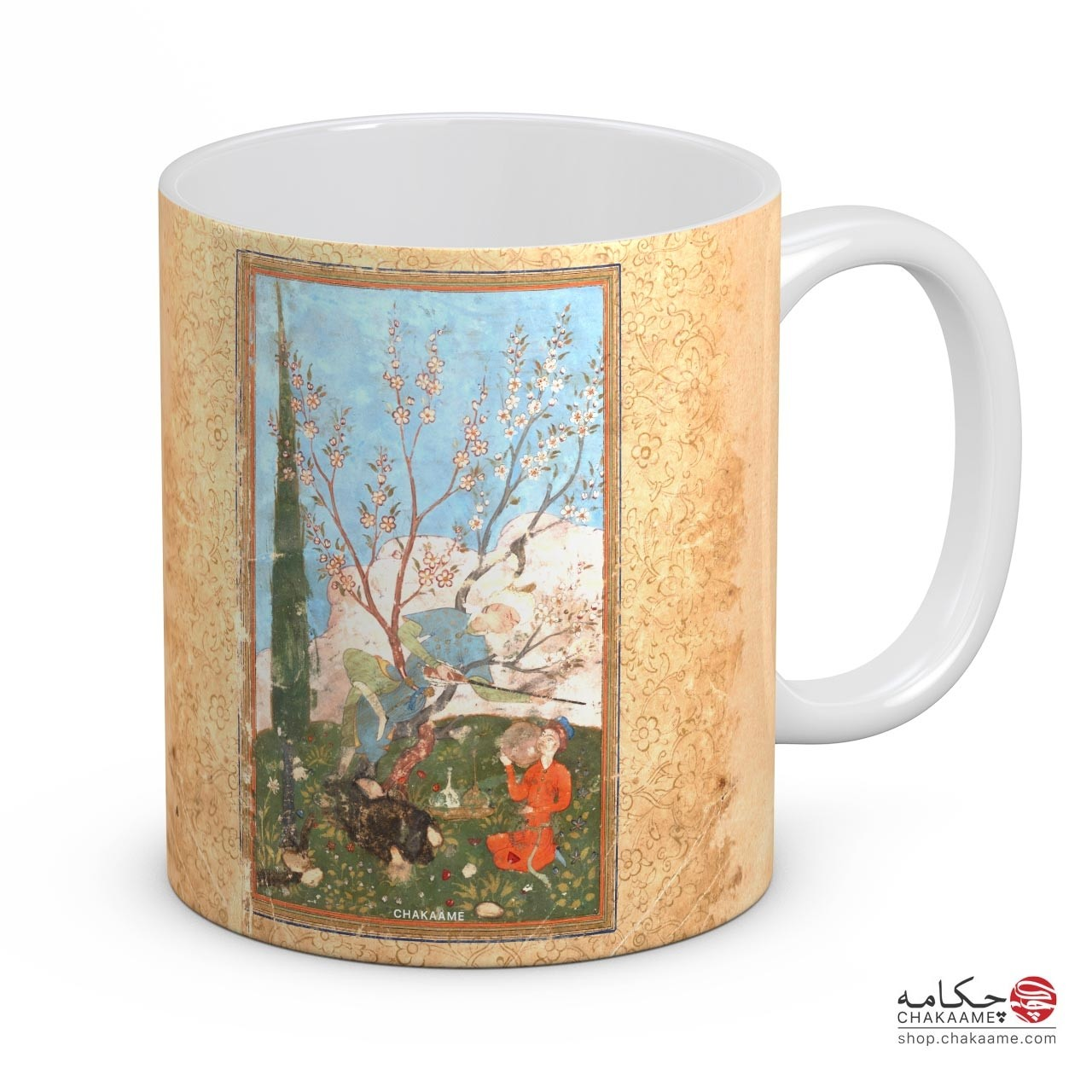 لیوان با طرح کتاب خطی بوستان سعدی - کد 5