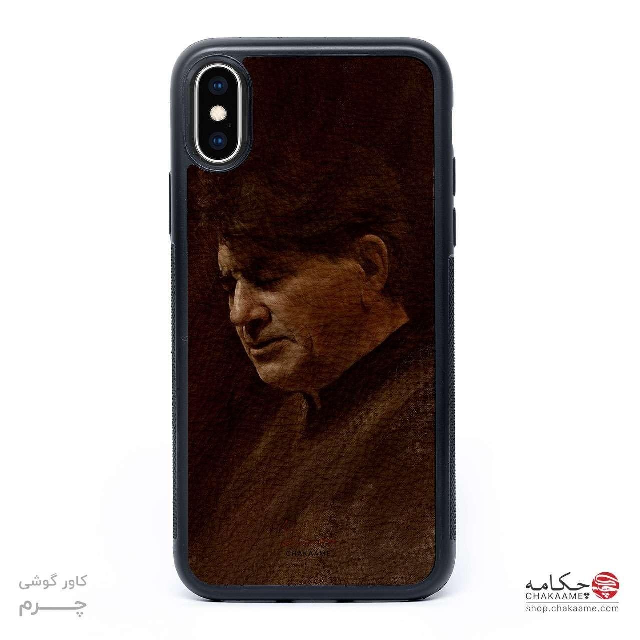 قاب موبایل چرم - طرح نقاشی استاد شجریان